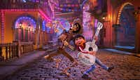 In this image released by Disney-Pixar, character Hector, voiced by Gael Garcia Bernal, left, and Miguel, voiced by Anthony Gonzalez, appear in a scene from the animated film, <i>Coco</i>.AP