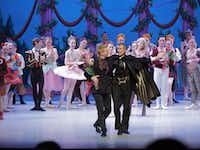 Hugh Nini (left, foreground), the founder of the Festival Ballet of North Central Texas, takes a bow with Eldar Valiev, the artistic director of the Festival Ballet, performing the role of Drosselmeyer, in the company's staging of 'The Nutcracker.'   This year's staging of the holiday classic will be on Dec. 9-10.Festival Ballet of North Central Texas