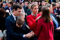 Senior Advisor to the President Jared Kushner (L) holds his son Joseph as Ivanka Trump (C) adjusts her daughter Arabella's (L) coat during the pardoning of Thanksgiving turkey Drumstick in the Rose Garden of the White House in Washington, DC, on November 21, 2017. / AFP PHOTO / JIM WATSONJIM WATSON/AFP/Getty ImagesAFP/Getty Images