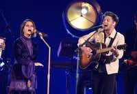 Maren Morris, left, and Niall Horan perform at the 51st annual CMA Awards at the Bridgestone Arena on Wednesday, Nov. 8, 2017, in Nashville, Tenn. Chris Pizzello/Invision/AP