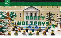 "The University of North Texas has a special stop-motion holiday greeting on its website. A Garland company built the Lego model that is the setting of a snowy scene in front of McConnell Hall, with students, faculty and Scrappy the mascot pulling a big sign reading ""Happy Holidays"" into view. UNT employee Cris Bryan animated the 58-second scene, which uses more than 15,000 Lego pieces, more than 32 Lego characters and 650 photos.UNT"