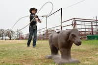 "<p><span style=""font-size: 1em; background-color: transparent;"">Riley Webb throws a lasso on a practice calf Wednesday at Windy Hills Farm in Denton. Webb, 14, is a calf-roper from Denton who has qualified for next week's Junior National Finals Rodeo in Las Vegas.</span></p>DRC"