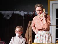 Jackson Blanton as Ralphie and Ash Robbins as Mother in Denton Community Theatre's <i>A Christmas Story</i>.DRC