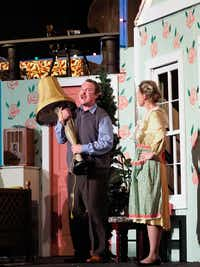 "The Old Man (Bryan Patrick) brings home a tasteful leg lamp despite disapproval from his wife (Ash Robbins) in Denton Community Theatre's ""A Christmas Story.""DRC"