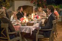(Clockwise from left) Candice Bergen, Michael Sheen, Eden Grace Redfield, Nat Wolff, Reese Witherspoon, Jon Rudnitsky, Lola Flanery and Pico Alexander in <i>Home Again</i>.Photo by Karen Ballard