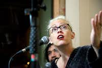 """Dallas-based comedian Lindsay Goldapp speaks during the live podcast of """"ChickenGate 2017."""" Several local comedians gathered at the Bearded Monk on Wednesday in Denton, Texas to have a blind chicken tender taste test to determine the best quality drive-through chicken fingers around.DRC"""