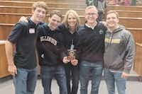 Liberty Christian High School math students and their teacher Cynthia Vick (center)Liberty Christian
