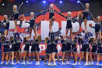 The Liberty Christian High School cheer squad performs at the TAPPS state competition.Liberty Christian