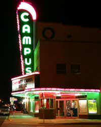 The Campus Theatre, shown here in 2004, was built in 1949 and thrived on the Square in downtown Denton until the late 1970s as the Square became of a shell of its former self. When the Campus Theatre was revived in the early 1990s, it helped begin a renaissance for the Square.Courtesy