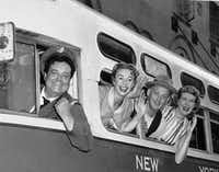 "In this 1955 file photo, the cast of ""The Honeymooners"" from left: Jackie Gleason, Audrey Meadows, Art Carney and Joyce Randolph, appear in character as, respectively, Ralph and Alice Kramden and Ed and Trixie Norton. SAP"