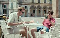 Armie Hammer, left, as Oliver and Timothy Chalamet as Elio in <i>Call Me By Your Name.</i>