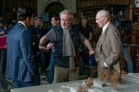 "From left, Mark Wahlberg, director Ridley Scott and Christopher Plummer on the set of ""All the Money in the World.""Sony Pictures"
