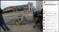 The oft-criticized V-bikes served a purpose on Tuesday, Dec. 26. First responders wrapped yellow caution tape around the handlebars of one of the app-unlocked bicycles.Glynn Vrba