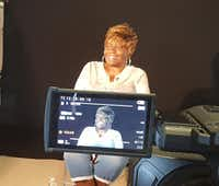 Sharon Ekpe gives an on-camera interview for a UNT film class. The class developed a series on historic Quakertown using an augmented reality format. Students conducted interviews and did research on the historical black settlement in Denton, which was forcibly relocated to make room for a city park. The project will allow visitors to Quakertown Park to use a smartphone to bring up information and videos about the spot where they are standing.UNT Media Arts