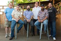 "From left, Andy Folmer, KJ Jones, Nic Bagherpour, Wally Campbell, Andy Knapik and Matt Mars are the officers for the Denton Music and Arts Collaborative, a nonprofit that will help local musicians and artists pay for health care. They're pictured on the back porch at Dan's Silverleaf, which they jokingly refer to as ""our office."" DRC"
