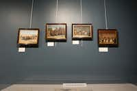 Scenes of early San Antonio painted by Theodore Gentilz hang on display in the Daughters of the Republic of Texas' new library.For The Texas Tribune