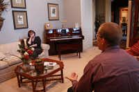 Renowned addiction recovery expert Tim Ryan talks with Patty Milam about drug abuse and heroin addiction Wednesday in her Argyle home. Milam, who lost her son to a heroin overdose last year, recruited Ryan to speak about addiction at Liberty Christian School on Thursday.DRC