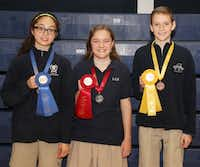 Science fair winners (from left to right) Savanna Morris, Julia Shanks and Reeves BallerLiberty Christian School