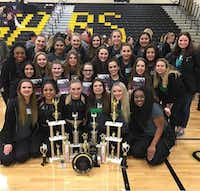 The Lake Dallas High School Highsteppers show off the trophies they won at the Danceline Competition earlier this month.Lake Dallas ISD