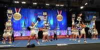 The Liberty Christian Warrior cheer squad competes at the Universal Cheerleaders Association Nationals contest in Orlando, Florida. Liberty Christian School