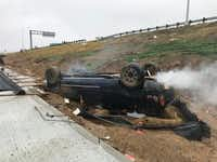 A man survived a rollover crash Tuesday after his truck veered through the guardrail on South Interstate 35E near State School Road, according to Denton police spokesman Shane Kizer.Becci Hendrix