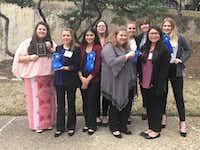 TAFE award winners, from left, Haley Nelson, Izzy May, Maile Laranang, Livia Dvoracek, Baylee Campbell, Ashlynn Pohlmeyer, Maggie Kelley, Emily Tran and Allie HannahLake Dallas ISD