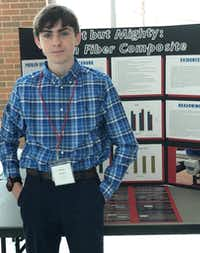 """Liberty Christian Middle School science fair participant Michael Ramirez with his honorable mention Best of Fair project, """"Light but Mighty: Carbon Fiber Composite.""""Liberty Christian"""
