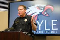 Argyle ISD Police Chief Paul Cairney talks about the district's armed staff policy during a press conference Thursday. The policy has been in place since January 2014 and allows certain employees to carry concealed handguns on campus.Denton Record-Chronicle