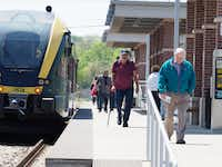 The A-train makes a stop Tuesday at the Denton County Transportation Authority's Denton Downtown Transit Center.DRC