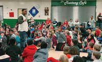 "Denton musician Chris Cole, who goes by the stage name ""AV the Great,"" speaks Friday to students at Woodrow Wilson Elementary School as part of G3 week, which serves to teach kids about perseverance and overcoming obstacles.David Minton - DRC"