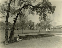 Residents of now-gone African-American community of Quakertown in Denton County enjoy Civic Center Park circa 1930s.
