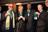 Emerald Eagle honorees Peter Weller, left, and Phyllis George stand with Joe Green, professor George Getschow (accepting for honoree Larry McMurtry) and UNT President Neal Smatresk at the event in the Morton H. Meyerson Symphony Center in Dallas on Wednesday night.<137> Photo by Michael Clements.<137>Michael Clements