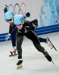 U.S. speedskater and Denton native Jordan Malone, front, skates in the short-track men's 5,000-meter relay final during the Winter Olympics in February in Sochi, Russia. Malone will be the grand marshal of Denton's Fourth of July parade.Chuck Myers