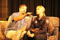 "Leon Rose (David Johnson) and Officer Margaret Heinz (Ash Robbins) make a connection in ""A Need for Brussels Sprouts,"" part of Denton Community Theatre's ""Twice Around the Park."" The beat officer is struggling to raise a family by herself; Leon, an out-of-work actor, worries over a receding hairline and a professional dry spell in Murray Schisgal's one-act comedy.Lucinda Breeding"