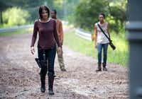 """Maggie Greene (Lauren Cohan, left) is one of the survivors who makes it to the fourth season of """"The Walking Dead.""""AMC"""