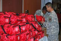 Emergency kits were given to soldiers and there families for free during the event on Sunday.John D. Harden