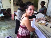 Tara Smith, cofounder of Cherie Amie, a fair trade lingerie company, is shown in October during a training and production session with artisans in the Republic of Cameroon.Courtesy photo