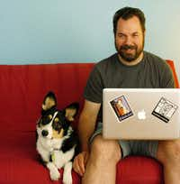 Josh Berthume of Swash Labs with Noodles, his pet.DRC/David Minton