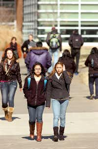 The sidewalks on the TWU campus were full on the first day of school Monday January 14, 2013, in Denton.Al Key - DRC