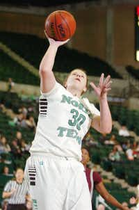 Senior forward Sara Stanley scores against Arkansas-Little Rock on Jan. 26 at the Super Pit. Stanley averaged 8.3 points and 6.1 rebounds per game in her final season with the Mean Green.David Minton - DRC