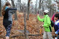 Hikers pause to take pictures of a tree freshly cut by a woodpecker on Sunday morning at the Isle du Bois Unit of Ray Roberts Lake State Park, near Pilot Point.Tomas Gonzalez  - DRC