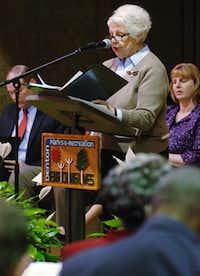 Denton County Historical Commission Chairwoman Beth Stribling speaks about the process  of getting an official Texas Historical Marker recognizing Quakertown during a dedication ceremony Saturday at the Denton Civic Center.David Minton - DRC
