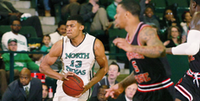 University of North Texas sophomore forward Tony Mitchell (13) brings the ball up the court against Arkansas State, Thursday, February 28, 2013, at the Super Pit in Denton, TX.David Minton - DRC