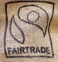 The fair trade icon on coffee beans at Bookish Coffee.Al Key - DRC