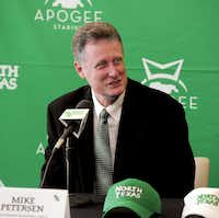 Mike Petersen speaks during a news conference Monday at Apogee Stadium as he was introduced as the new UNT women's basketball coach.Al Key