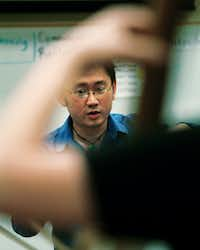 Artistic director Jason Lim conducts the Odysseus Chamber Orchestra, a newly-formed professional, nonprofit chamber orchestra, during their practice at Calhoun Middle School, Tuesday, May 1, 2012 in Denton, TX.David Minton