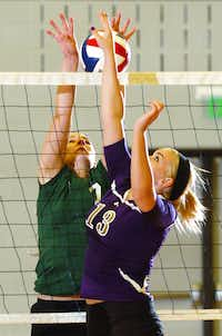 Calvary's Peyton Stewart (1) tries to block a tap from Denton senior Morgan Reese (13) , Tuesday, August 14, 2012, in Denton, TX.David Minton
