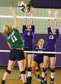 Calvary's Cory Grant (11) faces blocking by Denton senior Gennifer Holberg (4) and seinor Brittany Keffer (12), Tuesday, August 14, 2012, in Denton, TX.David Minton