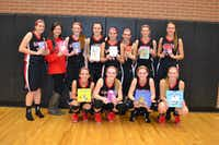 The Argyle High School girls basketball team donates children's books to Argyle Little Free Libraries. Pictured are, front row left to right: Brittany Hamilton, Jesse Sheridan, Olivia Gray and Jocelyn Pierce. Pictured are, back row left to right: Claire Betzhold, Laurie Beth Chalk, Vivian Gray, Delaney Sain, Bailey Eschle, Kim Strelke, Madison Ralston and Allison White.Courtesy photo