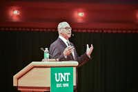 University of North Texas President Neal Smatresk gives his state of the university address Thursday at the Murchison Performing Arts Center. He discussed last year's accomplishments and the university's goals for the upcoming academic year. Tomas Gonzalez/DRC ORG XMIT: txderTomas Gonzalez
